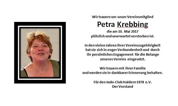 Nachruf Petra Krebbing